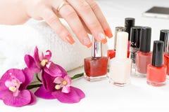 Weibliche Hände mit den Blumenblättern, Tuch und Nagellacken Lizenzfreies Stockbild