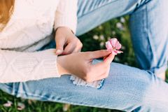 Weibliche Hände mit der neutralen Maniküre, die einen Apfelbaum hält, zacken Blume aus Draußen Frühling lizenzfreie stockbilder