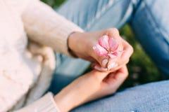 Weibliche Hände mit der neutralen Maniküre, die einen Apfelbaum hält, zacken Blume aus Draußen Frühling lizenzfreies stockfoto