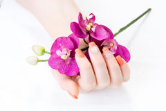 Weibliche Hände mit Orchideenblumenblatt- und -nagelkunst Stockfotos
