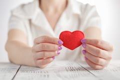 Weibliche Hände mit rotem Innerem Lizenzfreie Stockbilder