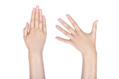 Weibliche Hände mit schönen Nägeln Stockbild
