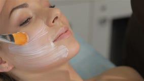 Weibliche Hände sahnt das Gesicht der Frau durch die Bürste stock video footage