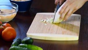 Weibliche Hände schnitten einen grünen Salat mit Messer auf hölzernem Brett Schließen Sie oben vom Messerschnittkohl stock video
