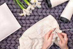 Weibliche Hände stricken eine Decke mit Stricknadeln liebhaberei stockbild