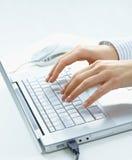 Weibliche Hände unter Verwendung des Laptops Stockfoto