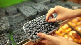 Weibliche Hände wählt die Blaubeerbeere in einem Supermarkt stock video