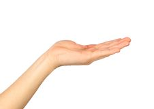 Weibliche Hand auf einem Weiß Stockbild