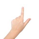 Weibliche Hand auf getrennt stockbild