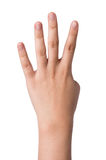 Weibliche Hand auf Weiß, nummerieren Zeichen vier Stockbild