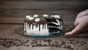 Weibliche Hand der Draufsicht, die Stück des köstlichen Schokoladenkuchens nimmt stock video footage