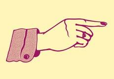 Weibliche Hand der Weinlese mit dem Zeigen des Fingers Stockfotografie