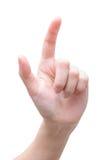 Weibliche Hand, die auf etwas sich berührt oder zeigt Lizenzfreies Stockbild