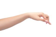 Weibliche Hand, die auf etwas sich berührt oder zeigt Lokalisiert auf Weiß mit Beschneidungspfad Stockfotografie
