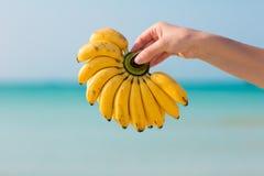 Weibliche Hand, die Bananen auf Seehintergrund hält Lizenzfreie Stockfotos