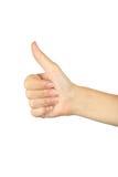 Weibliche Hand, die das O.K. gestikuliert Stockfoto