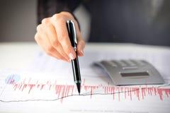 Weibliche Hand, die Diagramm auf Finanzbericht zeigt Stockbilder