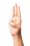 Weibliche Hand, die drei Finger, lokalisiert auf Weiß zeigt Lizenzfreie Stockfotografie