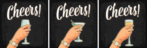 Weibliche Hand, die ein Glas des Cocktails, Wein, Champagner hält stock abbildung