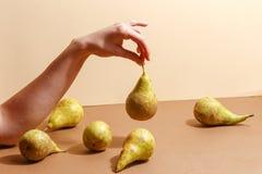 Weibliche Hand, die eine grüne Birne hält stockfotografie