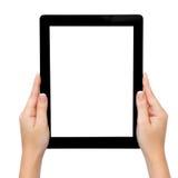 Weibliche Hand, die eine Tablette anhält lizenzfreie stockfotos