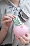 Weibliche Hand, die einen Dollar in ein Sparschwein setzt Lizenzfreies Stockfoto