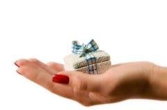 Weibliche Hand, die einen Geschenkkasten anhält Lizenzfreies Stockfoto