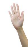 Weibliche Hand, die fünf Finger zeigt Stockbild