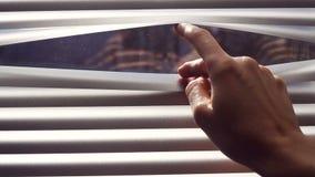 Weibliche Hand, die Latten von Jalousien mit einem Finger trennt, um durch zu sehen stock footage