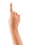 Weibliche Hand, die oben zeigt Stockbild