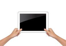 Weibliche Hand, die Tabletten-PC lokalisiert auf Weiß hält Lizenzfreies Stockfoto