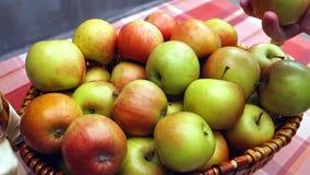 Weibliche Hand nimmt einen saftigen Apfel von einem Weidenkorb auf dem Tisch Die Tabelle wird mit einer Tischdecke mit einem Quad stock footage