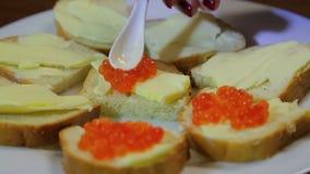 Weibliche Handausgebreiteter Kaviar mit einem Löffel von Canape mit Butter stock video footage