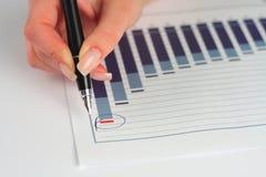 Weibliche Handholdingfeder über Geschäftsdiagramm Lizenzfreies Stockbild