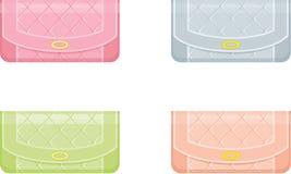 Weibliche Handtaschen in den Pastelltönen Stockbild