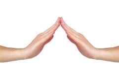 Weibliche Hände berühren sich Lizenzfreie Stockfotografie