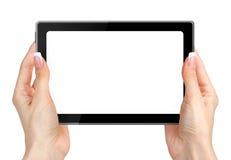 Weibliche Hände, die auf dem Tabletten-PC lokalisiert auf Weiß halten und sich berühren Stockfotografie