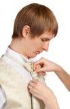 Weibliche Hände, zum einer Gleichheit zu binden Lizenzfreies Stockfoto