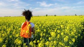 Weibliche junge Frau des Mischrasse-Afroamerikanermädchenjugendlichen, die mit rotem Rucksack wandert stock video footage