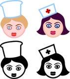 Weibliche Köpfe der Krankenschwestern und der Chefs Stockfotografie