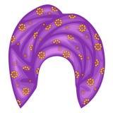 Weibliche Kopfbedeckung f?r Frau, Turban Ein heller gestrickter violetter Schal Nationale sch?ne und stilvolle Kleidung Auch im c stock abbildung