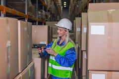 Weibliche Lagerarbeitskraft, die Scanner im Lagerhaus verwendet Lizenzfreie Stockbilder