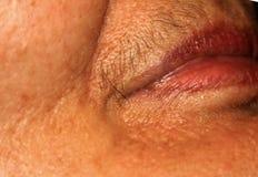 Weibliche Lippen mit einem Schnurrbart auf der oberen Lippe Haarabbau auf das Gesicht Enthaarung Stockbild