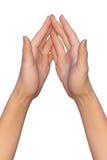 Weibliche Palmen berühren sich mit verschachtelten Fingerumkippungen Lizenzfreies Stockfoto