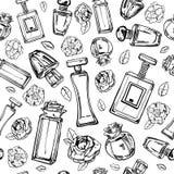Weibliche Parfümflaschen des Skizzenentwurfs mit Blumen Gezeichnetes nahtloses Schwarzweiss-Muster des Vektors Hand stock abbildung