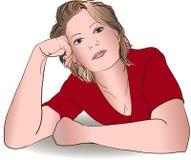 Weibliche Porträthand gezeichnet Lizenzfreies Stockfoto
