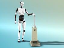 Weibliche Robotervakuumreinigung. Lizenzfreie Stockbilder