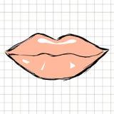 Weibliche rosa Lippen vorbei gezeichnet lizenzfreie abbildung