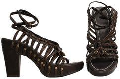 Weibliche Sandalen mit hohem Absatz Stockfotografie