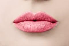 Weibliche Schönheit Liebes-Lippen Makro Küssen der Lippen Lizenzfreies Stockfoto